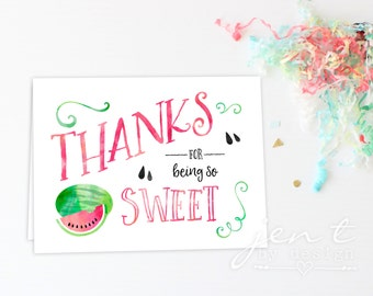 Watercolor Watermelon Thank You Notes