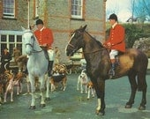 To the Hounds - Vintage 1960s Fox Hunting Photochrome Postcard