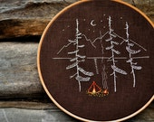 Camping embroidery pattern, Hand embroidery patterns, Digital Download, Adventure, Mountains, Embroidery pattern PDF by NaiveNeedle