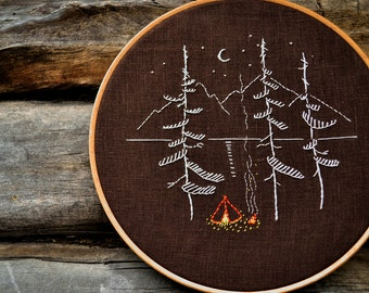 Camping embroidery pattern, Hand embroidery patterns, Adventure, Mountains and Pine trees by NaiveNeedle