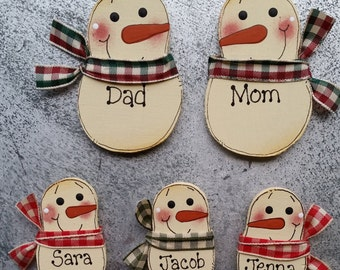 Magnets - Personalized family magnets - Snowman magnets - refrigerator magnets - Family of 5 - office magnets