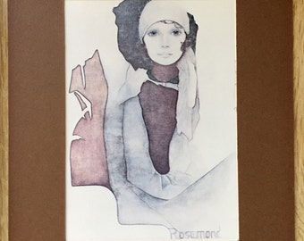 "Christine Rosamund Vintage Lithograph, ""Simone"", 1976, Ira Roberts Publishing, 5x7 in, 12.5x17.5 cm, matted"