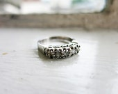RESERVED- Vintage 10K White Gold Wedding Ring or Band with 5 Brilliant Cut Diamonds (US Ring Size 5.5)