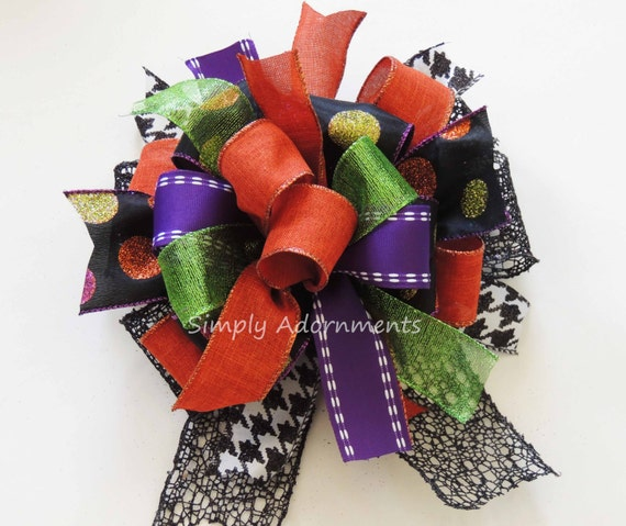 Funky Halloween Wreath Bow Funky Halloween Monogram Bow Halloween Lantern Bow Halloween Door Bow Purple Green Black Orange Halloween Bow
