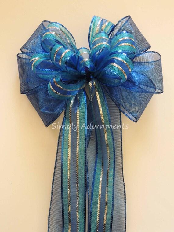 Royal Blue Silver Wedding Pew bow Royal Silver Party Decoration Decor Blue Holidays Bow Royal Silver Hanukkah Decor Blue Topper Gift Bow