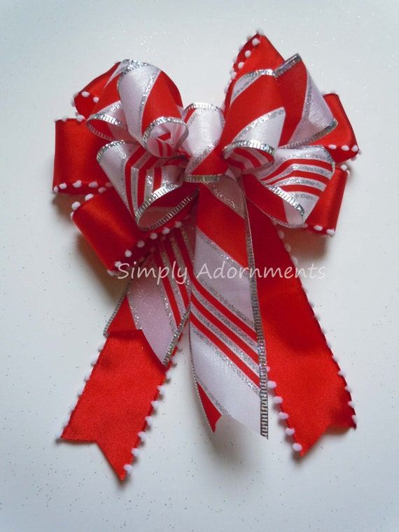 Red White Christmas Ornament Tree Bows Red White Silver Candy Cane Christmas Bows Christmas Lantern Bow Christmas Wreath Swag Bow Gift Bows