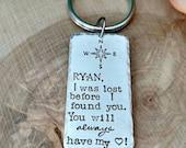 Keychain for husband, Keychain for boyfriend, wedding gift for husband, anniversary gift, hand stamped compass Keychain, gift for boyfriend