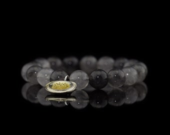 CLOUDY WITH CHARM | Cloudy Quartz bracelet with Silver-Gold charm (Free Shipping)