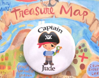 Personalised Pirate Badge - Pirate Captain - Pirate Party - Party Bag - Pirate Birthday - Pirate Goodie Bag - Pirate Themed Party - Birthday