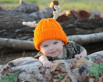 Crochet Baby Deer Antler Hunter Hat Photo Prop- Daddys Little Deer Hunter - 6-12 Month Orange Brown Pink