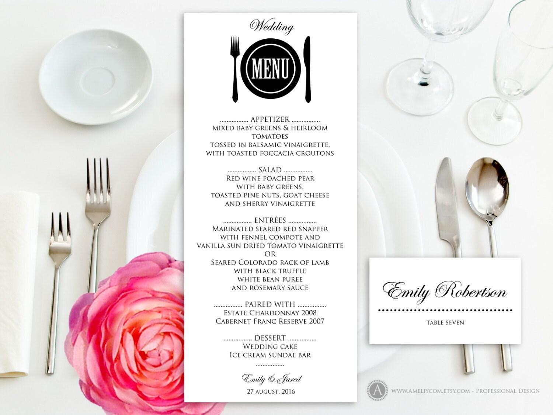 Printable Wedding Menu Free Place Card Template Instant – Free Menu Templates Printable