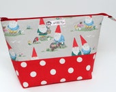 Gnome Themed Large Zipped Pouch for Crafting Projects