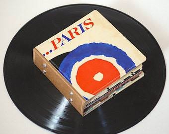 18 DVD Holder Art Book/ CD Wallet Handmade from Upcycled Album Cover- Paris Edition