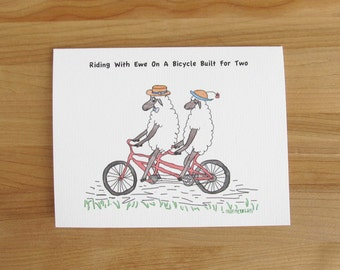 Riding With Ewe On A Bicycle Built For Two // Valentine, Birthday or Anniversary card // white or black sheep // with or without caption