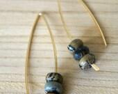 brass open hoop earrings / landscape stone / modern jewelry / gold hoops