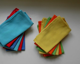 Solid Color Cotton Cloth Napkins Set of 12 for a Vintage Modern or Mid Century Thanksgiving  Dining Table