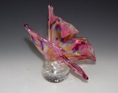 Memorial Glass Memento Butterfly Paperweight, Cremation Ashes, Pet - Iridescent
