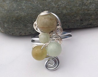 Bering Sand / Sterling Silver Ring / Gem Stone Ring / Wire Wrapped Ring / Ethnic / Turkish Ring / Beryl / SR1B10