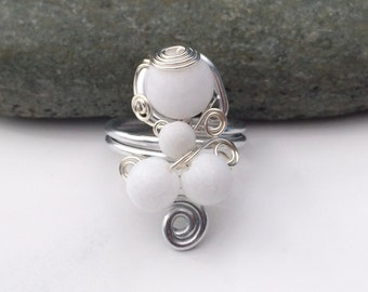 Rock Cloud / Sterling Silver Ring / Gem Stone Ring / Wire Wrapped Ring / Ethnic Jewelry / Turkish Ring / White Jade / SR1B08