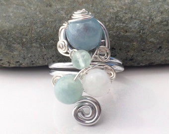 Bering Sea / Sterling Silver Ring / Gem Stone Ring / Wire Wrapped Ring / Ethnic Jewelry / Turkish Ring/ Beryl / SR1B04