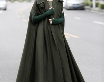 maxi wool poncho in green, black, gray, long wool cape cloak, wool coat, wool jacket, maxi coat, maxi cape, plus size,  Halloween costume