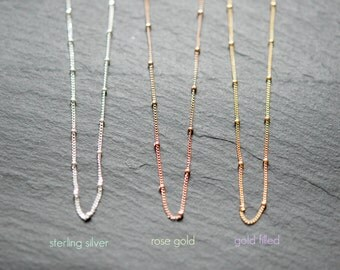 Satellite chain necklace, beaded chain, sterling silver chain, gold chain, rose gold chain, DIY, customize, long necklace, layering jewelry