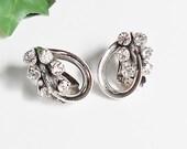 Rhinestone Earrings, Clip On with Sparkly Clear Stones, Silver Art Deco Loopy Fancy Elegant Vintage Earrings
