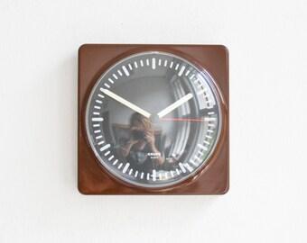 Krups clock, brown wall clock, 70s clock, kitchen clock, German clock, 70s wall clock