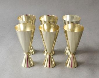 Vintage aluminum dessert cups ice cream cups East German set entertaining party