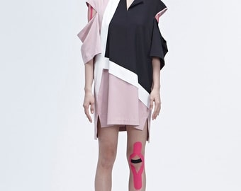 Colorblocked Shift Pink Dress