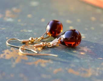 Brown Earrings, Tear Drop Earrings, Glass Bead Earrings, Brown Topaz Earrings, Czech Glass Jewelry, Golden Brown Jewellery Gift, UK Shops