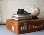 Vintage leather suitcase, vintage travel suitcase, vintage display