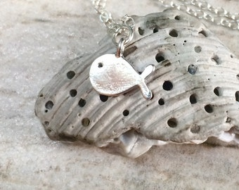 Tiny Fish Necklace, Silver Fish Necklace, Sterling Silver Fish Necklace