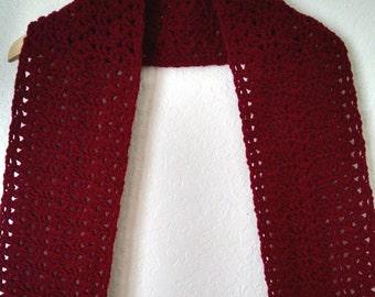 Crochet Lacy Scarf Maroon