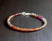 Multi Zircon Gemstone Bracelet, Zircon Bracelet, Gemstone Bracelet, Delicate Bracelet, Tiny Gemstone, Faceted Rondelle, Natural Zircon, Gift