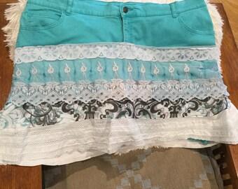 Plus size Shabby Chic  skort skirt teal