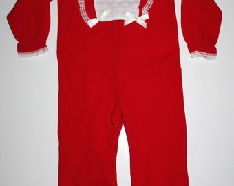 VALENTINES DAY 1970s Baby Outfit - Vintage Baby Girl Jumpsuit - Red- Retro Baby NWOT