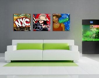 New York abstract graffiti art work, 3 panel canvas.
