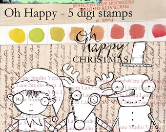 Oh Happy - a whimsical trio of Christmas characters and a sentiment - 5 image digi stamp set
