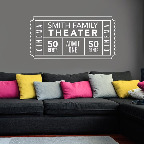 Personalized Family Movie Theater Ticket Decal Wall Decal - Custom vinyl decals barrie