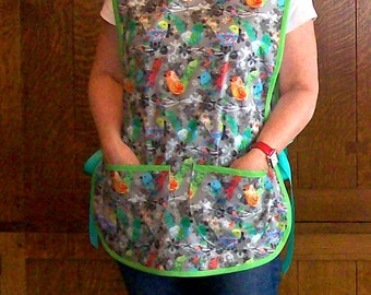 Cobbler Apron - Gray Birds Smock apron - One Size