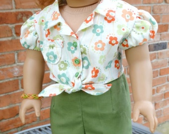 "18"" Doll Clothes 1950's Style Pedal Pushers Pants and Blouse Fits American Girl Maryellen"