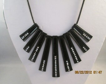 Black Pendant Necklace with Clear Rhinestones on a Black Cord Chain