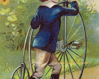 Victorian Boy With A Bicycle - New 4x6 Photo Print - TC034