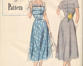Vintage 1950 Simplicity Designers Pattern 8261 Misses Dress Size 20 Bust 38--FACTORY FOLDED