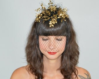 RESERVED! Fascinator Headpiece with Feathery Gold Foliage and Black Cascading Veil, Statement Cocktail Party Hat, Occasion Fashion Headwear