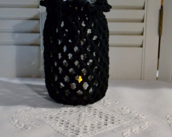 Crochet Candle Holder Luminaire Lantern 1 Quart Mason Jar Cover  Flower Vase Black Littlestsister