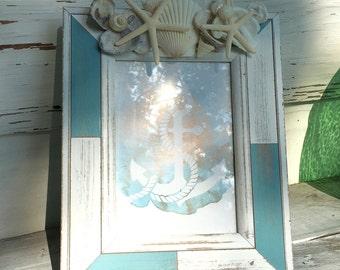 Seashell Frame/5x7 Shell Picture Frame/Wedding Day Frame