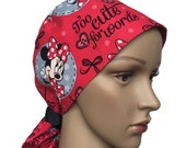Ponytail Scrub Hat with ribbon ties - Red Ponytail Scrub Hat - Animals Ponytail