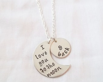 I Love You to the Moon & Back Necklace ~ Hand Stamped, Sterling Silver, Keepsake Jewelry, I Love You to the Moon and Back